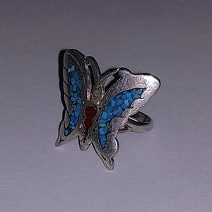Large butterfly inlay sterling ring 6.75